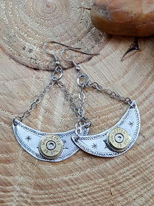 Crescent Shape Chandelier Bullet Earrings-SureShot Jewelry