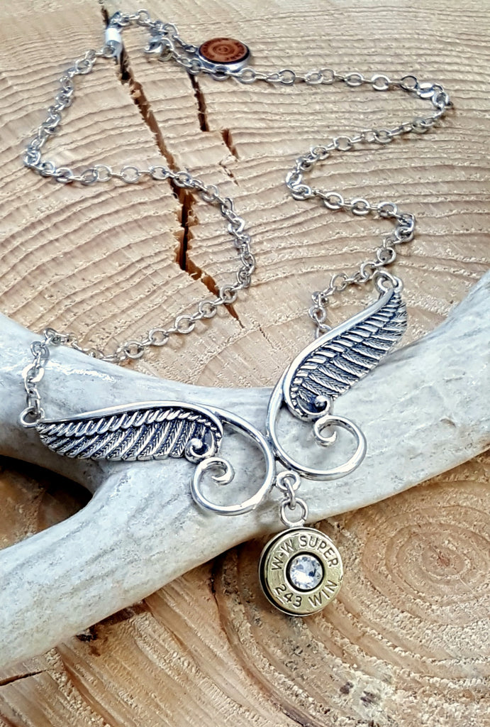Sterling Angel Wing Bullet Necklace