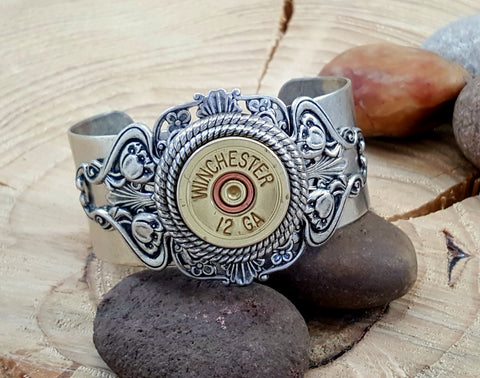 12 Gauge Stacked Filigree Silver Shotshell Cuff Bracelet
