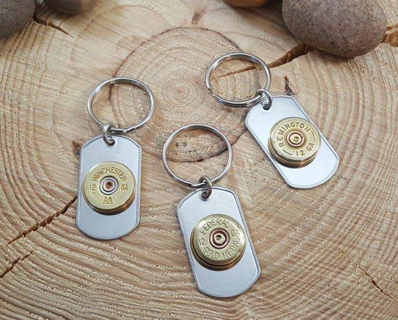 Men's Bullet Accessories - Stainless Steel Dog Tag 12 Gauge Key Chains
