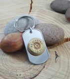 Remington Brand 12 Gauge Stainless Steel Dog Tag Key Chain - Men's Bullet Accessories