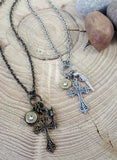 Bullet Necklace - Silver and Brass God and a Gun Cross Charm Necklace