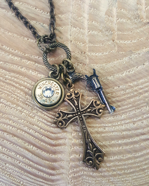 Bullet Necklace - Brass God and a Gun Cross, Gun & Bullet Charm Necklace