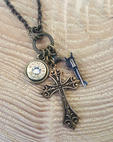 Brass God & a Gun Bullet Charm Necklace