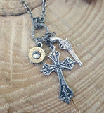 Brass God & a Gun Bullet Charm Necklace-SureShot Jewelry