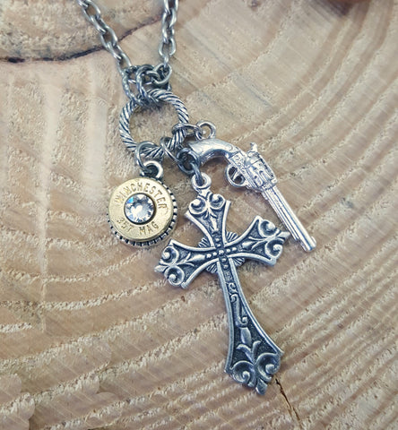 Silver God & A Gun Charm Bullet Necklace