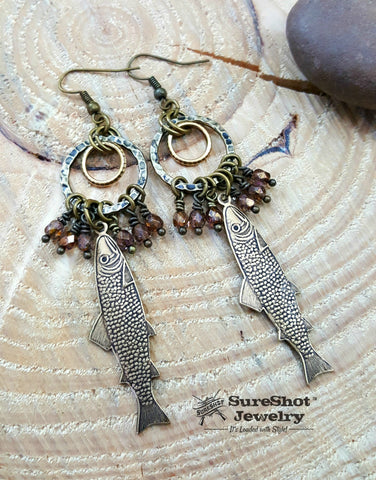 Antique Brass Trout / Tan Luster Beaded Dangle Earrings - Fishing Earrings