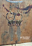 Antique Brass Trout / Tan Luster Beaded Dangle Earrings - Fishing Earrings-SureShot Jewelry