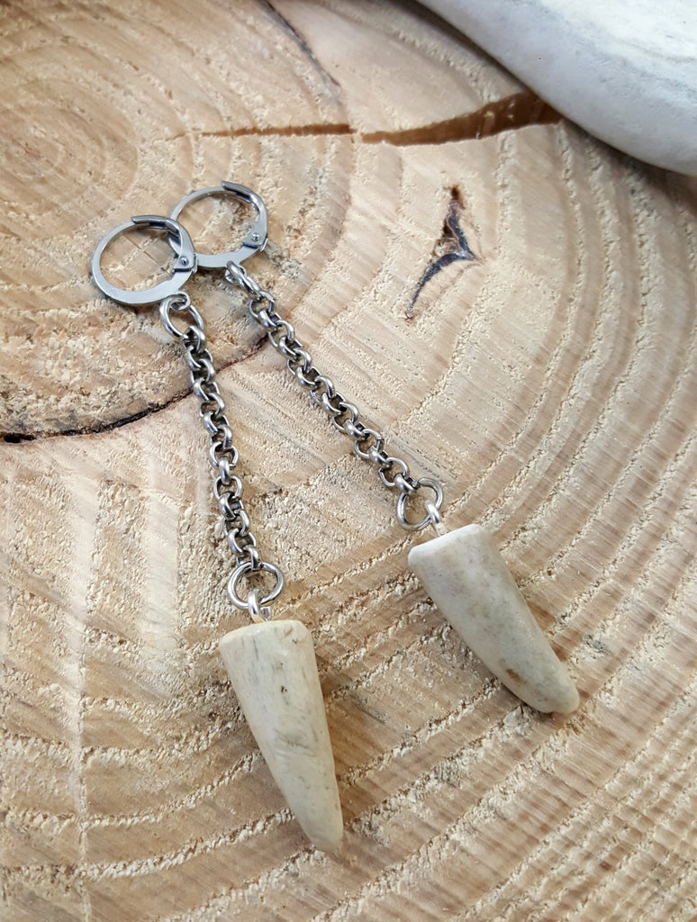 Petite Antler Tip Chain Dangle Earrings