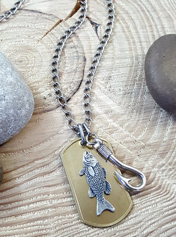 Men's Brass Fishing Hook and Trout on Brass Dog Tag Necklace