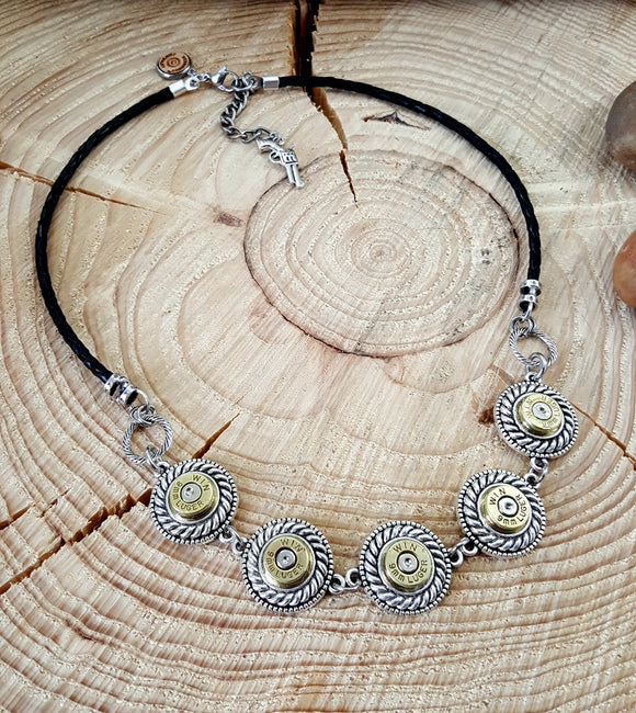 Bullet Jewelry - 9mm Rope Bezel Leather Bib Style Bullet Necklace