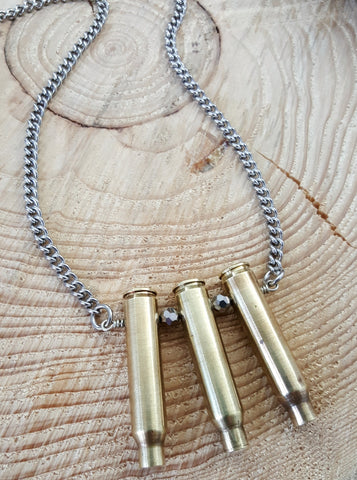Triple Threat .223 Rifle Casing Bullet Necklace - Unisex Styling