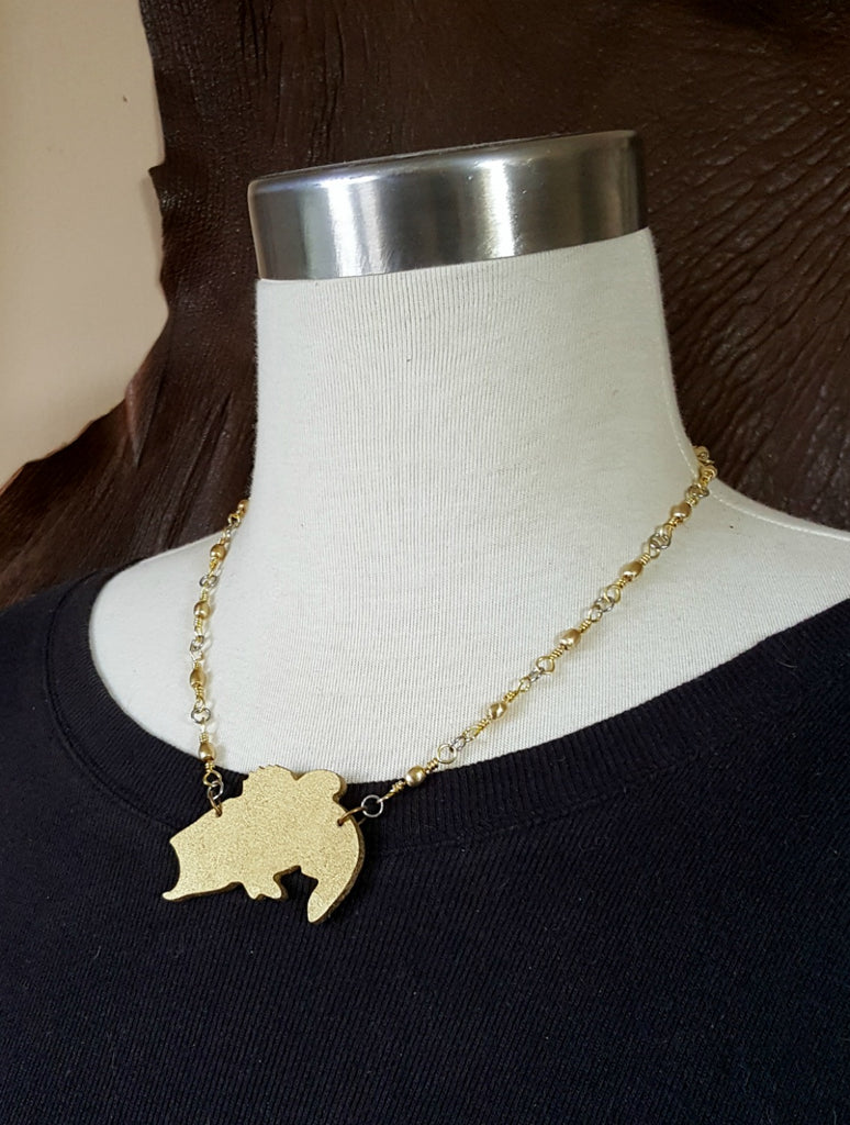 Laser Cut Wood Gold Finished Big Mouth Bass / Fishing Necklace
