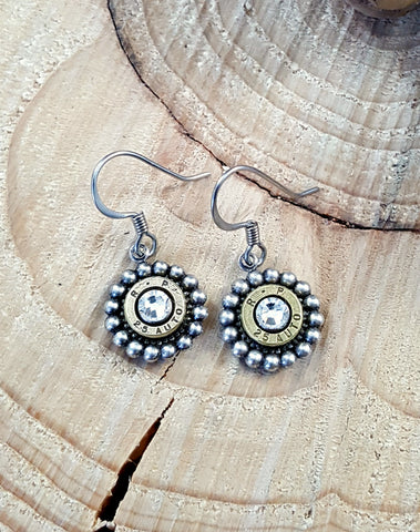 Petite Beaded Bezel Bullet Earrings - 25 Auto