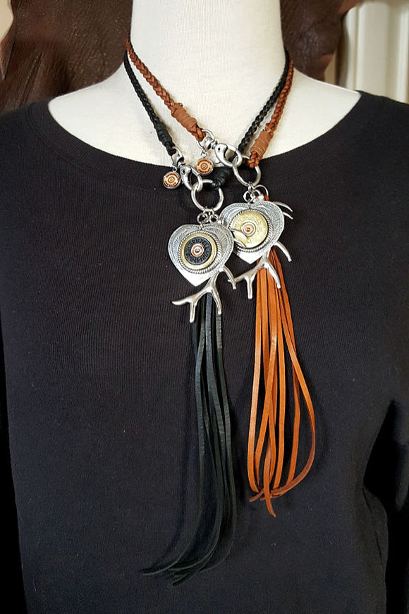 12 Gauge Heart and Tassel Leather Boho Style Necklace-Necklace-SureShot Jewelry