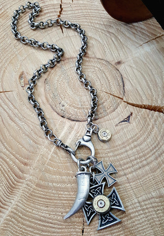 Men's Double Maltese Cross, Horn/Tusk Bullet Necklace