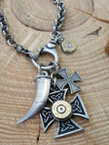 Biker Jewelry - Bullet Jewelry - Maltese Cross and Horn Bullet Necklace