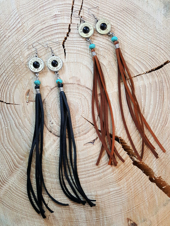 Boho Western Style 20 Gauge Long Deerskin Lace Duster Dangle Earrings