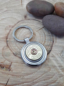 12 Gauge Shotshell Round Stainless Steel Key Ring - Vintage Remington - Peters-SureShot Jewelry