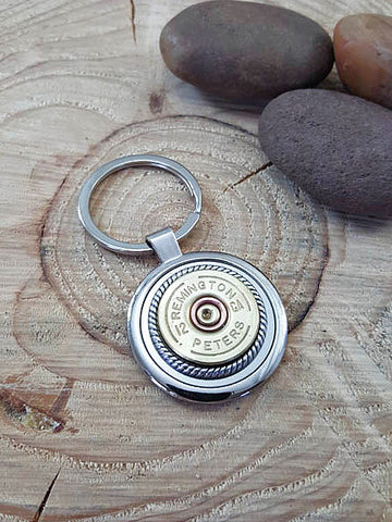 12 Gauge Shotshell Round Stainless Steel Key Ring - Vintage Remington - Peters