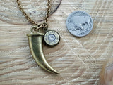 Men's Horn Tusk & Bullet Charm Necklace-SureShot Jewelry