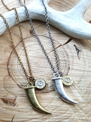 Men's Horn Tusk & Bullet Charm Necklace