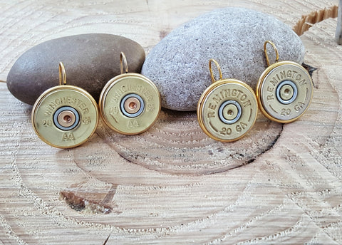 Brass 20 Gauge Shotshell French Hook Earrings