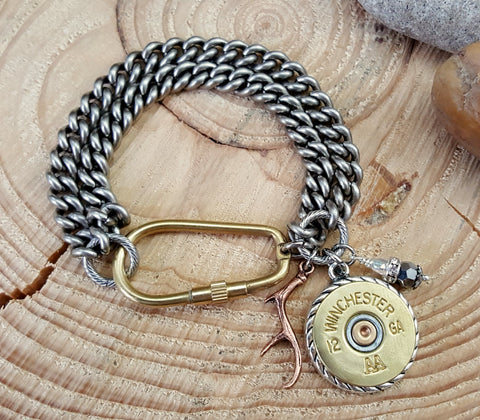 Chunky Double Curb Chain Carabiner Shotshell Charm Bracelet