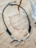 Antler Rack Leather Cord Choker Necklace - Choice of Tan or Black-SureShot Jewelry
