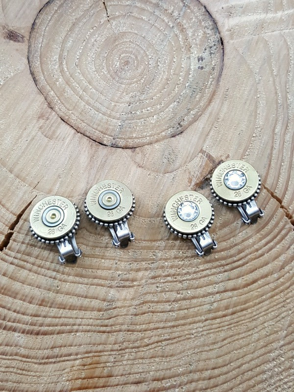 28 Gauge Shotgun Casing Clip-on Bullet Earrings