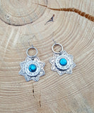 Southwest Style Silver 20 Gauge Star Turquoise Bullet Earrings-SureShot Jewelry