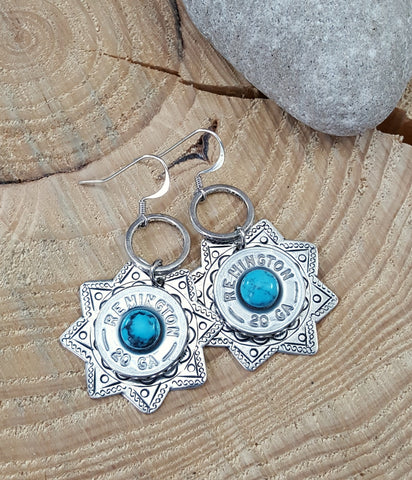 Southwest Style Silver 20 Gauge Star Turquoise Bullet Earrings