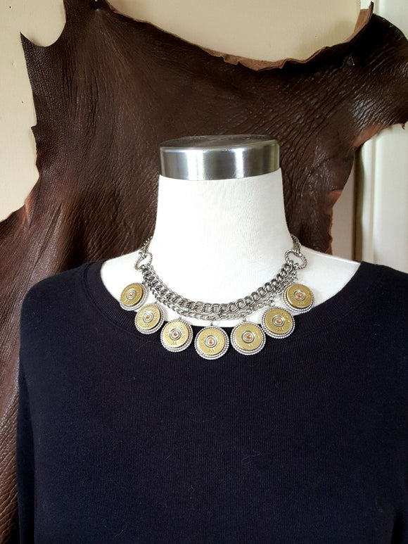 Stunning 20 Gauge Shotshell Double Chain Bib Necklace-SureShot Jewelry