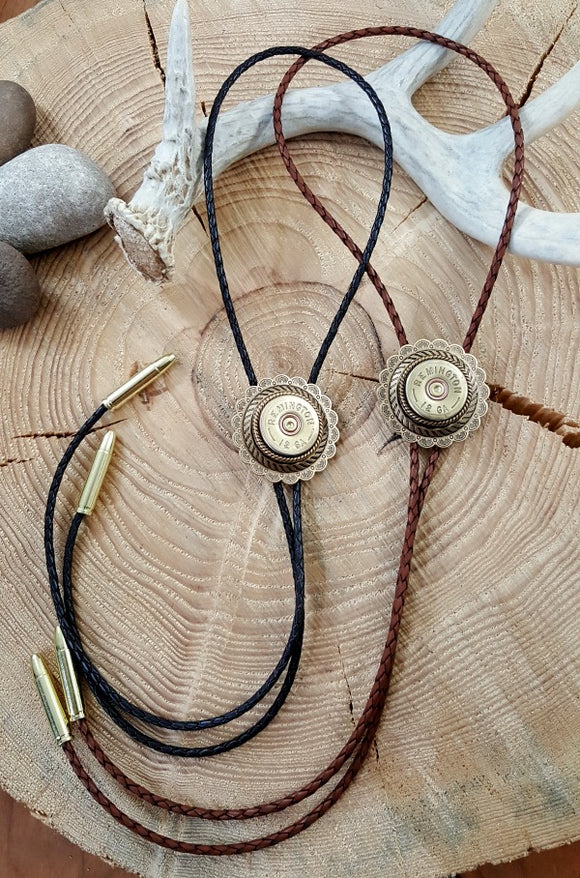 Concho 12 Gauge Shotshell Leather Bolo Tie - Unisex-SureShot Jewelry