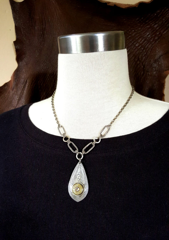 Teardrop Pendant Bullet Necklace-SureShot Jewelry