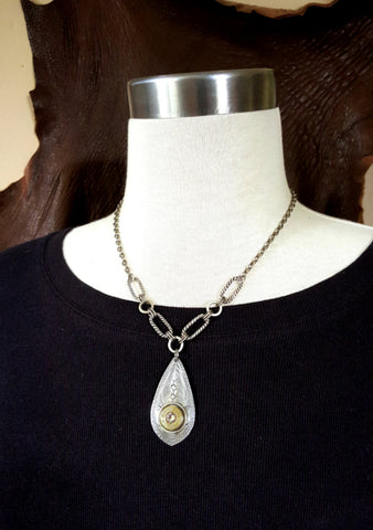 Teardrop Pendant Bullet Necklace
