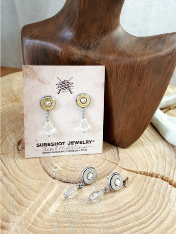 Crystal Teardrop Post Dangle Bullet Earrings - Choice of Brass or Nickel Casings