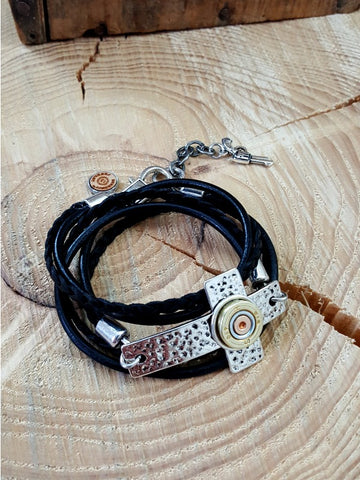 Triple Wrap Leather Sideways Cross Bullet Bracelet