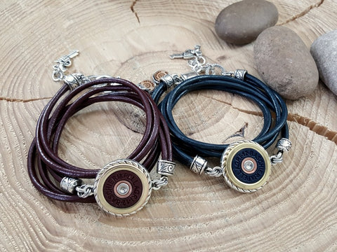 Triple Wrap Burgundy Leather B&P 12 Gauge Shotshell Bracelet