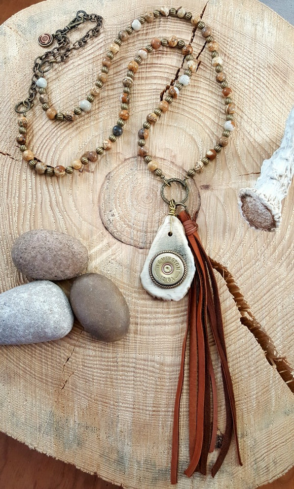 12 Gauge Antler Slice Jasper Beaded Boho Necklace-SureShot Jewelry