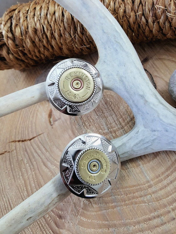 12 or 20 Gauge Shotshell Small Silver Concho Ponytail Holder - Hair Tie-SureShot Jewelry