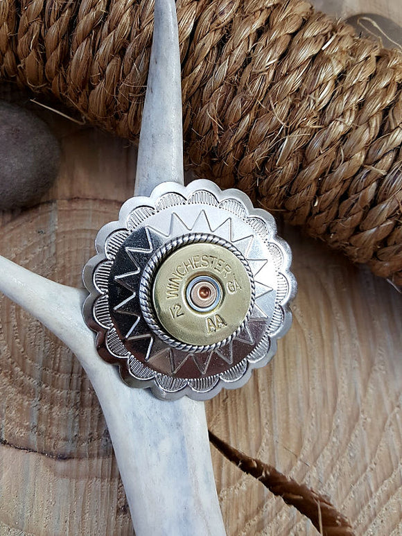 12 Gauge Shotshell Large Silver Concho Ponytail Holder - Hair Tie