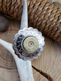 12 Gauge Shotshell Large Silver Concho Ponytail Holder - Hair Tie-SureShot Jewelry