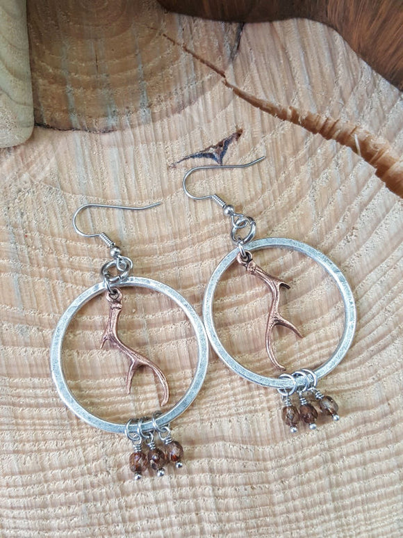 Antler Hammered Hoop Copper & Silver Beaded Earrings