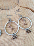 Antler Hammered Hoop Copper & Silver Beaded Earrings-SureShot Jewelry