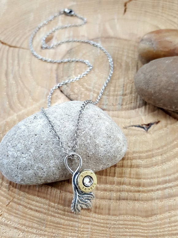 Sterling Silver Leaf & Bullet Necklace-SureShot Jewelry