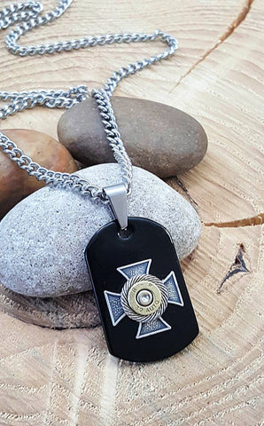 Men's Black Onyx Dog Tag Shape Maltese Cross Bullet Necklace