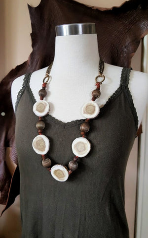 Boho Style Antler Slice Long Statement Necklace