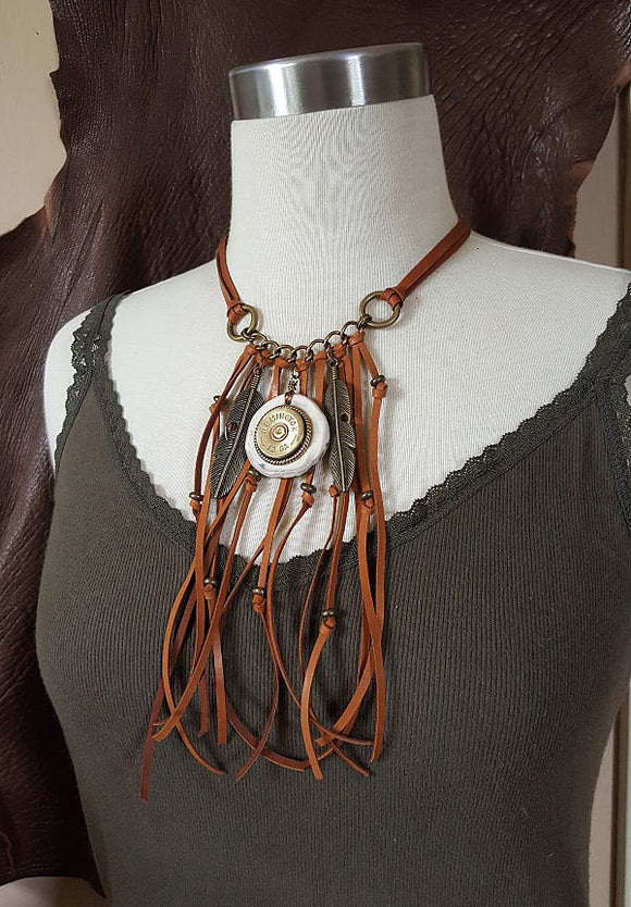 12 Gauge Feather & Antler Slice Leather Fringe Brass Shotshell Necklace-SureShot Jewelry