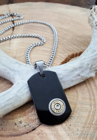 Men's Black Onyx Dog Tag Shape Bullet Necklace